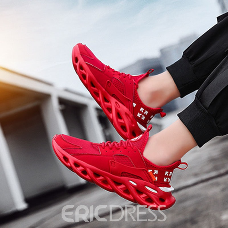Ericdress Patchwork Lace-Up Round Toe Men's Trainer Shoes