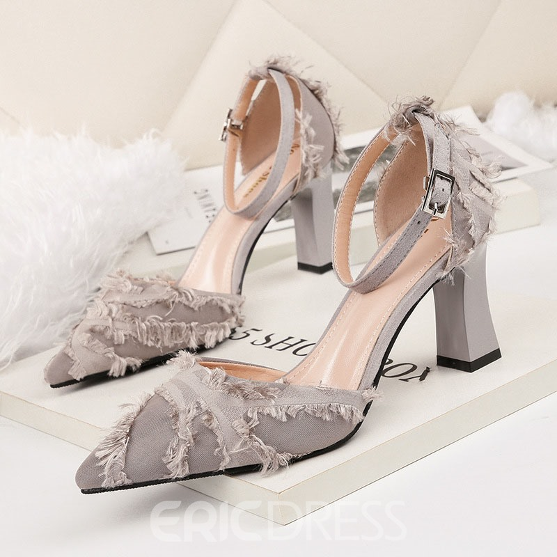 Ericdress Chunky Heel Buckle Pointed Toe Women's Sweet Pumps