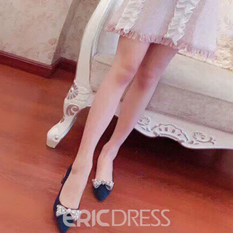 Ericdress Bowknot Beads Slip-On Pointed Toe Chunky Heel Women's Pumps