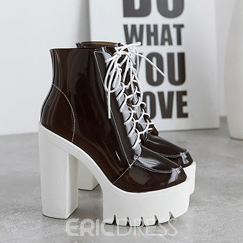 Ericdress Round Toe Lace-Up Front Chunky Heel Women's Ankle Boots