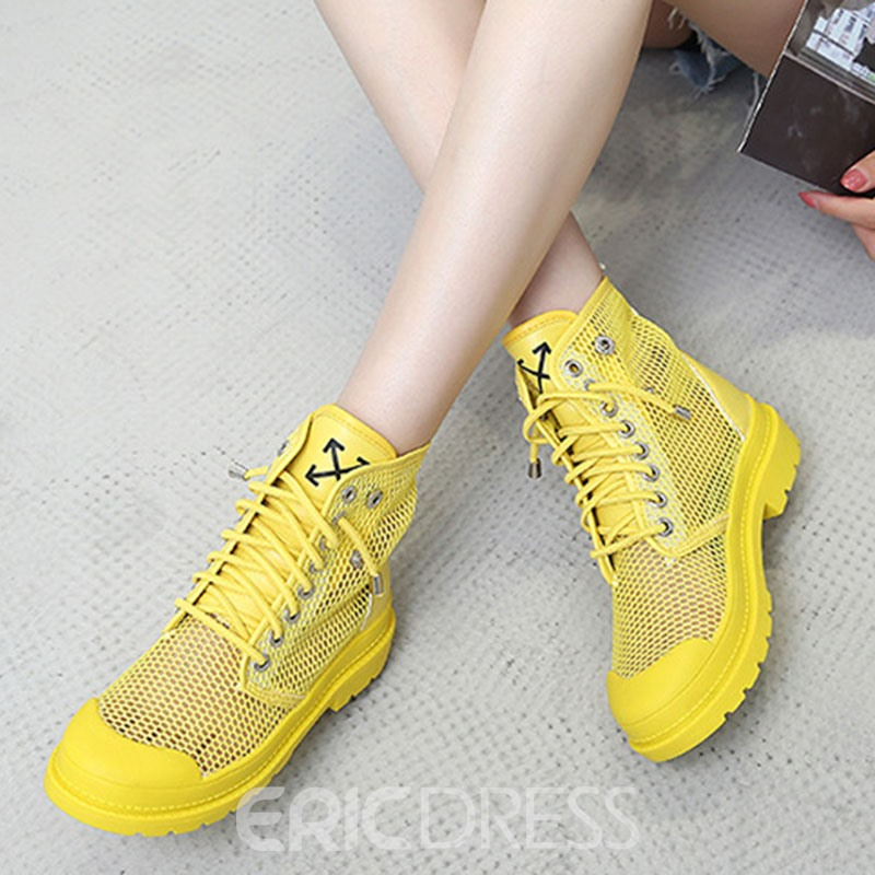 Ericdress Mesh Lace-Up Front Round Toe Women's Boots