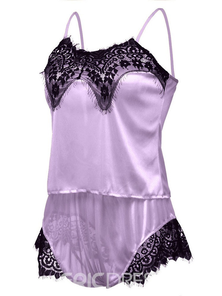 Ericdress Satin Pajama Floral Sexy Lace Sleepwear Camisole Short Sets