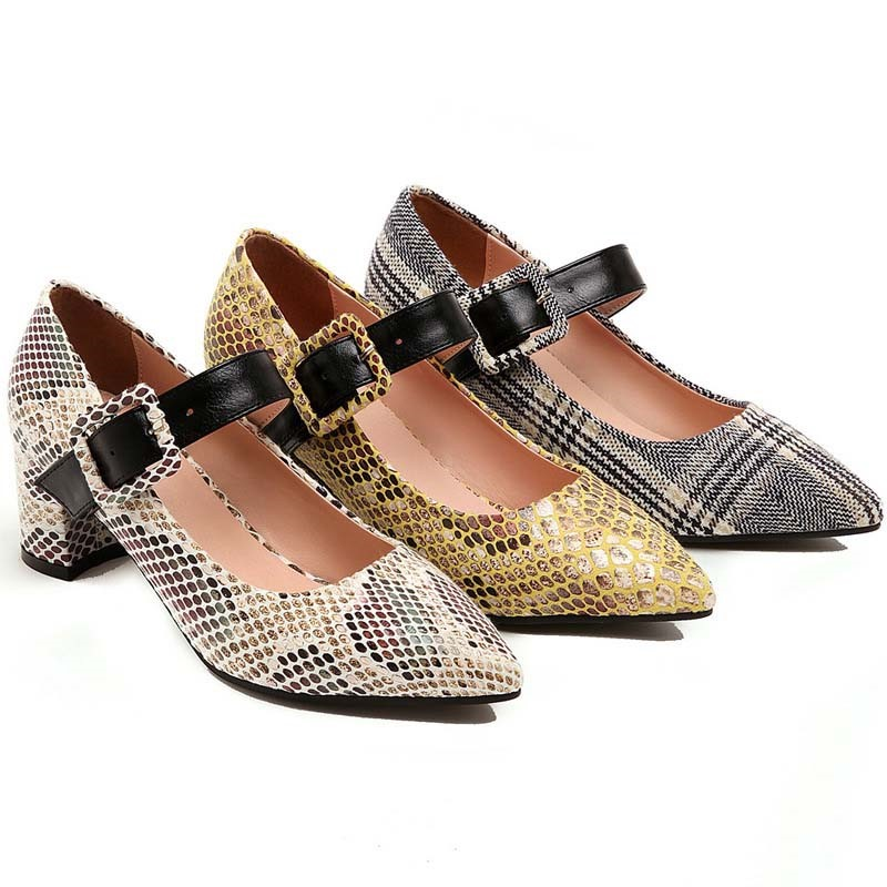 Ericdress Color Block Buckle Chunky Heel Buckle Women's Pumps