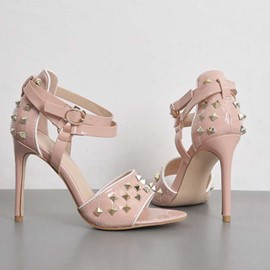 Ericdress Rivets Heel Covering Open Toe Stiletto Heel Women's Sandals