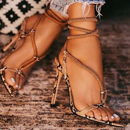 Ericdress Serpentine Lace-Up Open Toe Stiletto Heel Women's Sandals
