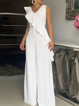 Ericdress Plain Falbala Full Length Wide Legs OL White Jumpsuit