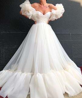 Ericdress Strapless A-Line Long Sleeves Wedding Dress