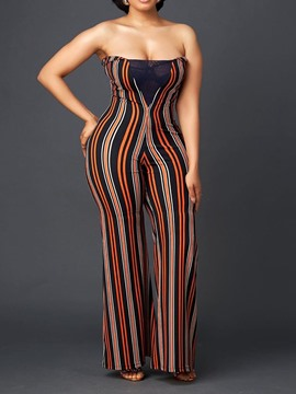 Ericdress Striped Strapless Full Length Sexy High Waist Slim Jumpsuit