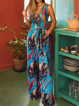 Ericdress Print Pocket Full Length High Waist Wide Legs Jumpsuit