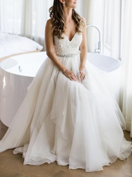 Ericdress Beading Spaghetti Straps Wedding Dress
