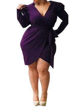 Ericdress Plus Size Asymmetric V-Neck OL Long Sleeve Plain Purple Dress