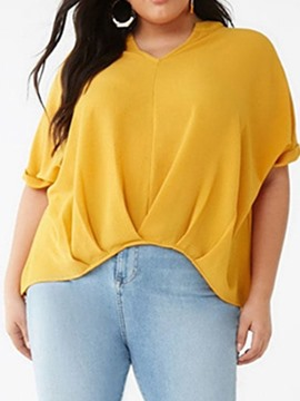 Ericdress Plus Size Pleated Plain V-Neck Short Sleeve Casual Blouse