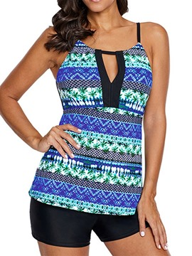 Ericdress Print Color Block Stretchy Hollow Swimsuit