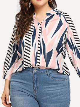 Ericdress Plus Size Color Block Lapel Button Print Casual Blouse