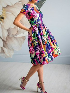 Ericdress Short Sleeve Round Neck Floral Print Standard-Waist A-Line Dress
