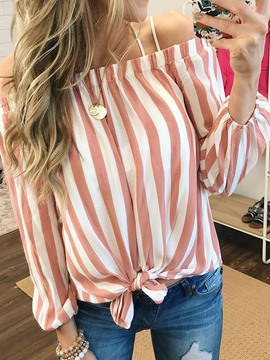 Ericdress Off Shoulder Stripe Women's Mid-Length Blouse