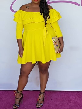 Ericdress Plus Size Off Shoulder A-Line Falbala Above Knee Yellow Dress