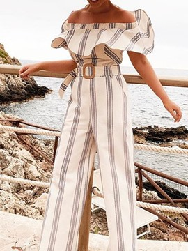 Ericdress Full Length Striped Falbala Straight High Waist Jumpsuit