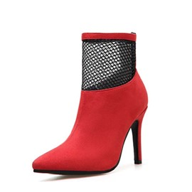 Ericdress Mesh Patchwork Back Zip Stiletto Heel Pointed Toe Women's Boots