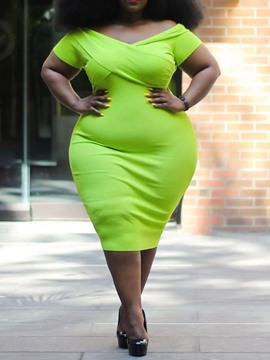 Ericdress Plus Size Mid-Calf Short Sleeve V-Neck Bodycon Green Dress