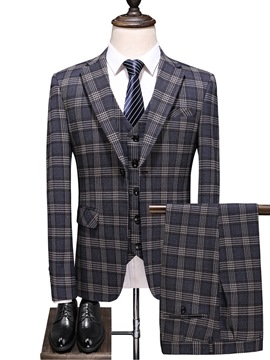 Ericdress Plaid One Button Print Men's Dress Suit