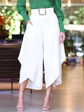 Ericdress Plain Loose High Waist Wide Legs Casual White Pants