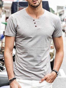 Ericdress Plain Button Men's Casual Slim T-shirt