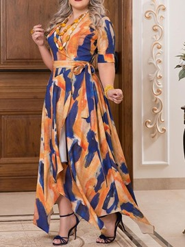 Ericdress Plus Size V-Neck Floor-Length Patchwork Asymmetrical Color Block Dress