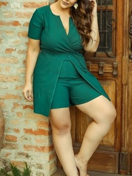 Ericdress Plus Size Plain Shorts Slim Green Romper