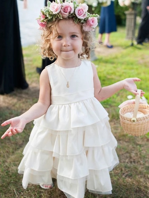 Ericdress Tiered Sleeveless Round Neck Flower Girl Dress 2019