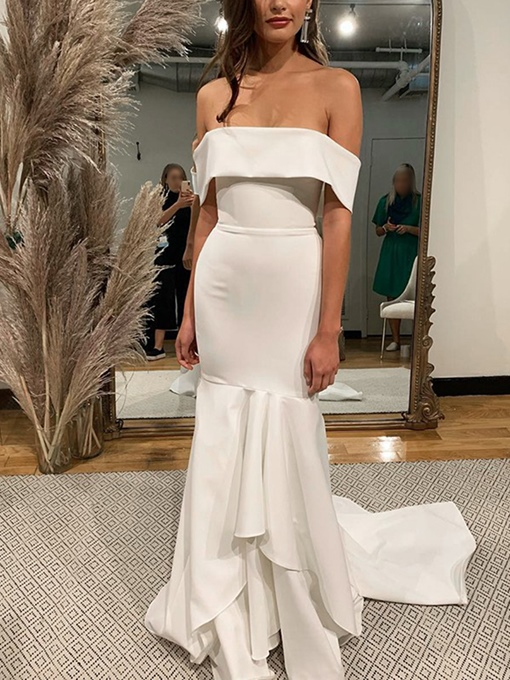 Ericdress Off-The-Shoulder Sleeveless Beach Wedding Dress 2019