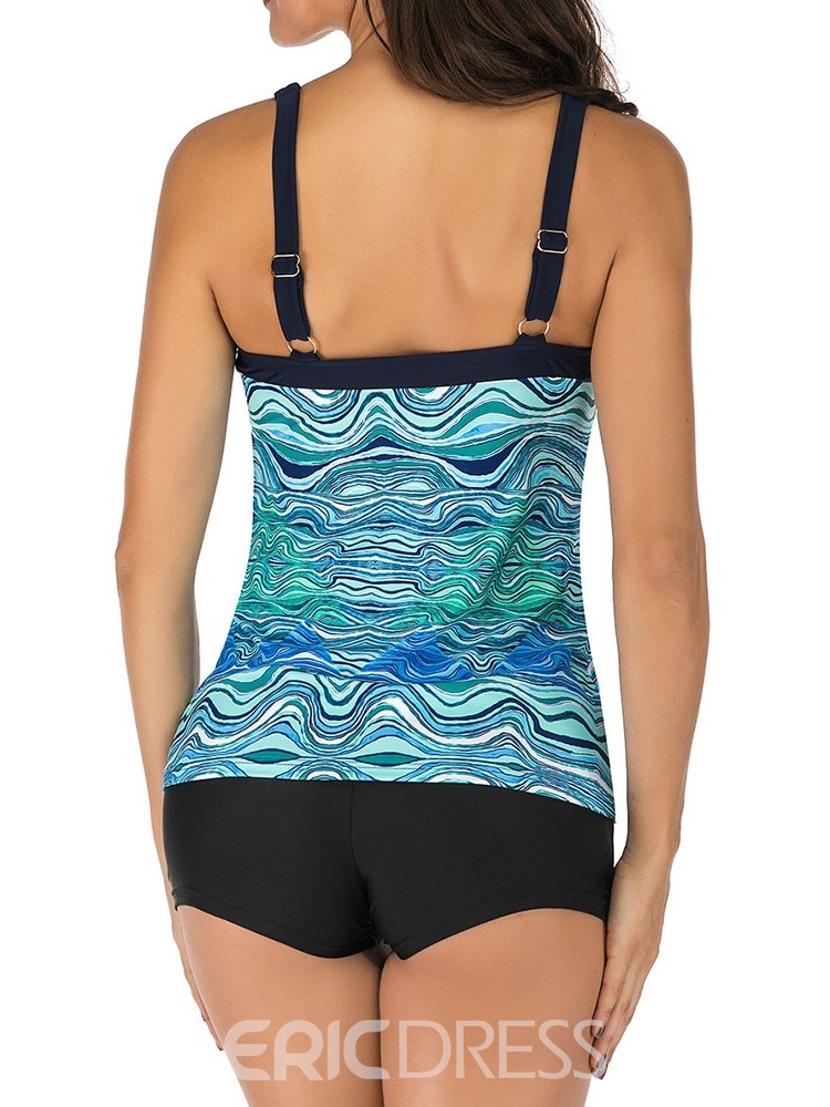 Ericdress Color Block Stretchy Print Swimsuit