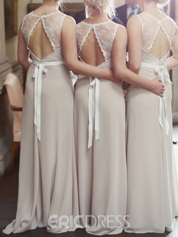Ericdress Scoop Neck Backless Lace Bridesmaid Dress