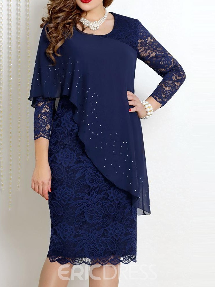 Ericdress Plus Size Round Neck Mid-Calf Lace OL Floral Bodycon Dress