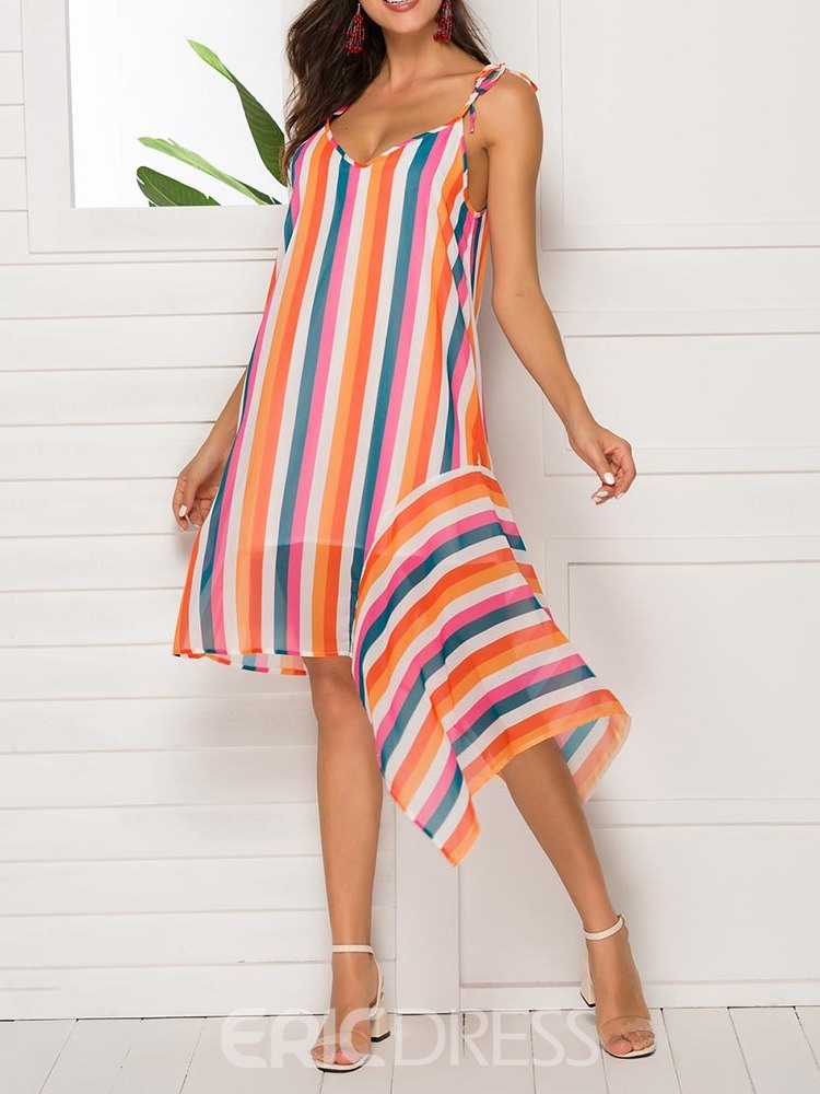 Ericdress Striped Asymmetric Sleeveless Spaghetti Strap Chiffon Dress