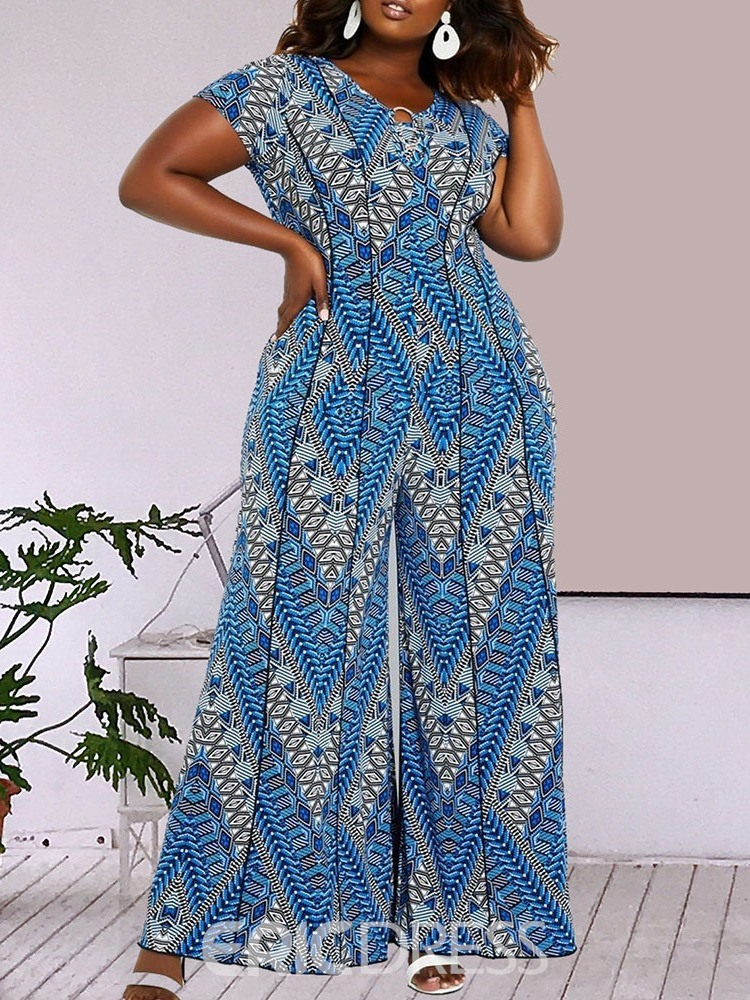 Ericdress Plus Size African Fashion Full Length Geometric Wide Legs Jumpsuit