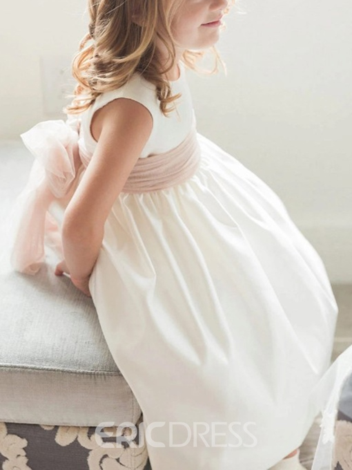 Ericdress Pearls Button Sashes Flower Girl Dress