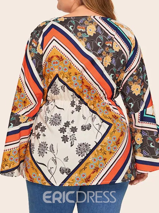 Ericdress Plus Size Print V-Neck Flare Sleeve Mid-Length Fashion Blouse