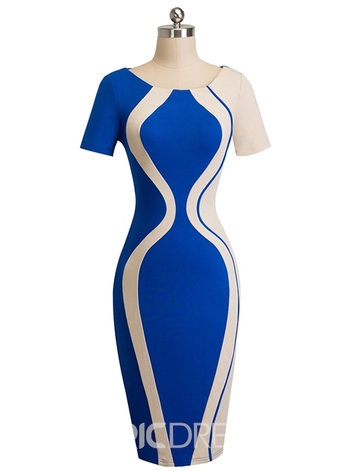 Ericdress Mid-Calf Short Sleeve Fashion Round Neck Color Blockl Pencil Dress