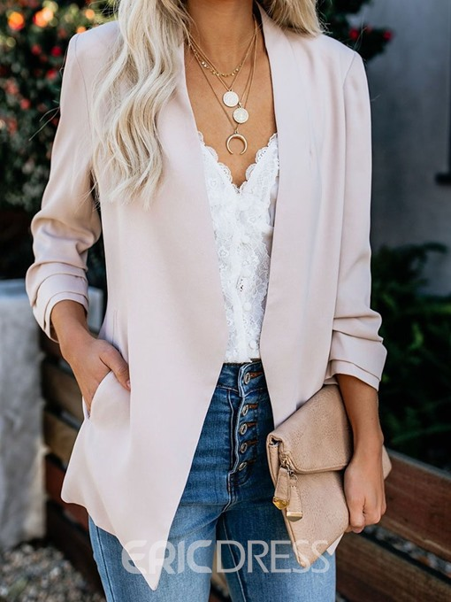 Ericdress Plain Wrapped Long Sleeve Pocket Mid-Length Casual Blazer
