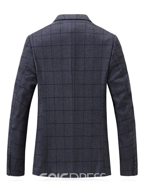 Ericdress Plaid Single-Breasted Slim Men's leisure Woolen Coat