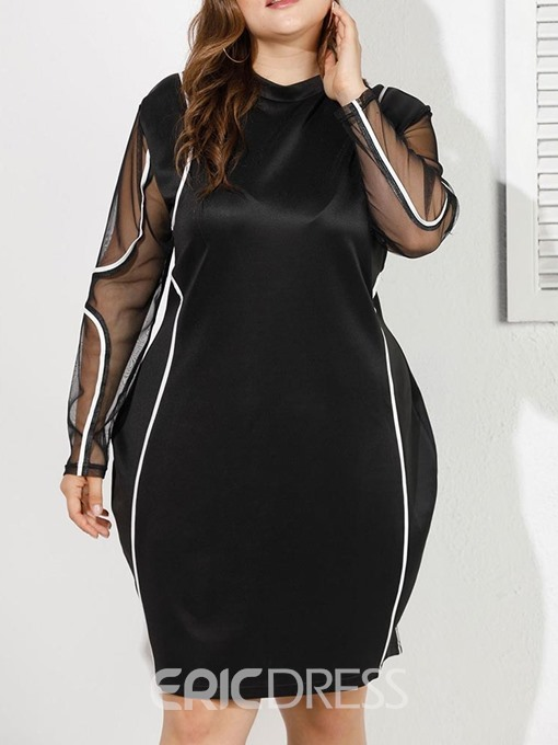 Ericdress Plus Size Patchwork Stand Collar Long Sleeve Regular Bodycon Dress