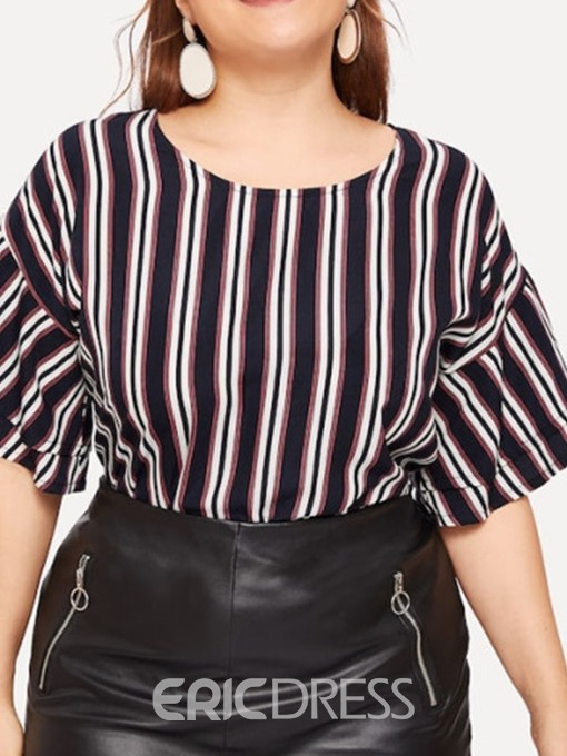 Ericdress Plus Size Round Neck Stripe Flare Sleeve Casual Blouse