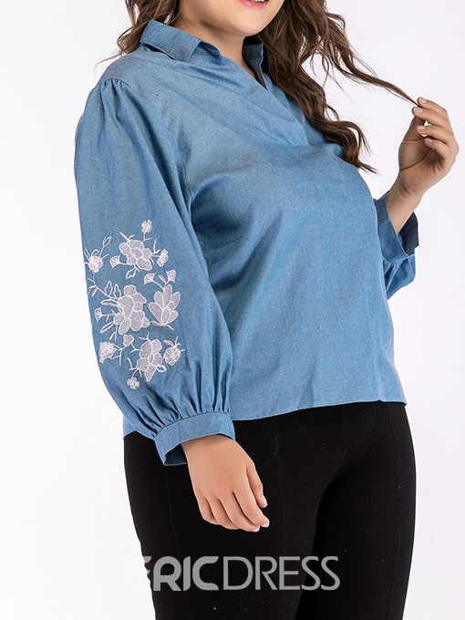 Ericdress Plus Size Lantern Sleeve Floral Pleated Slim Blouse
