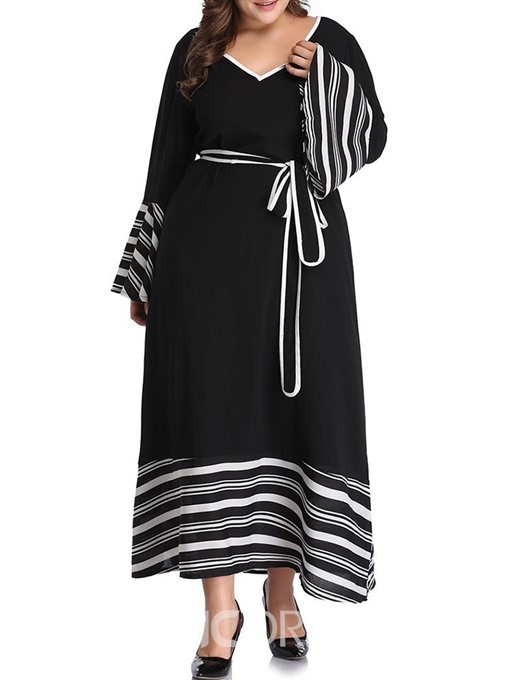 Ericdress Plus Size Flare Sleeve Elegant Patchwork V-Neck Mid-Calf A-Line Dress