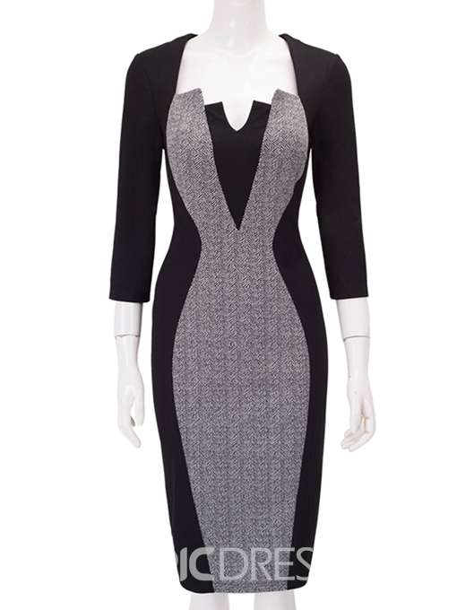Ericdress Patchwork Color Block Pencil Elegant OL Dress