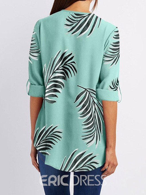 Ericdress Print V-Neck Color Block Short Sleeve Casual Blouse