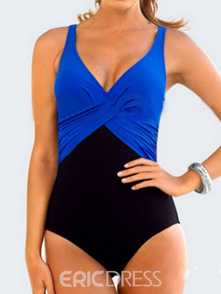 Ericdress One Piece V-Neck Color Block Pleated Swimwear