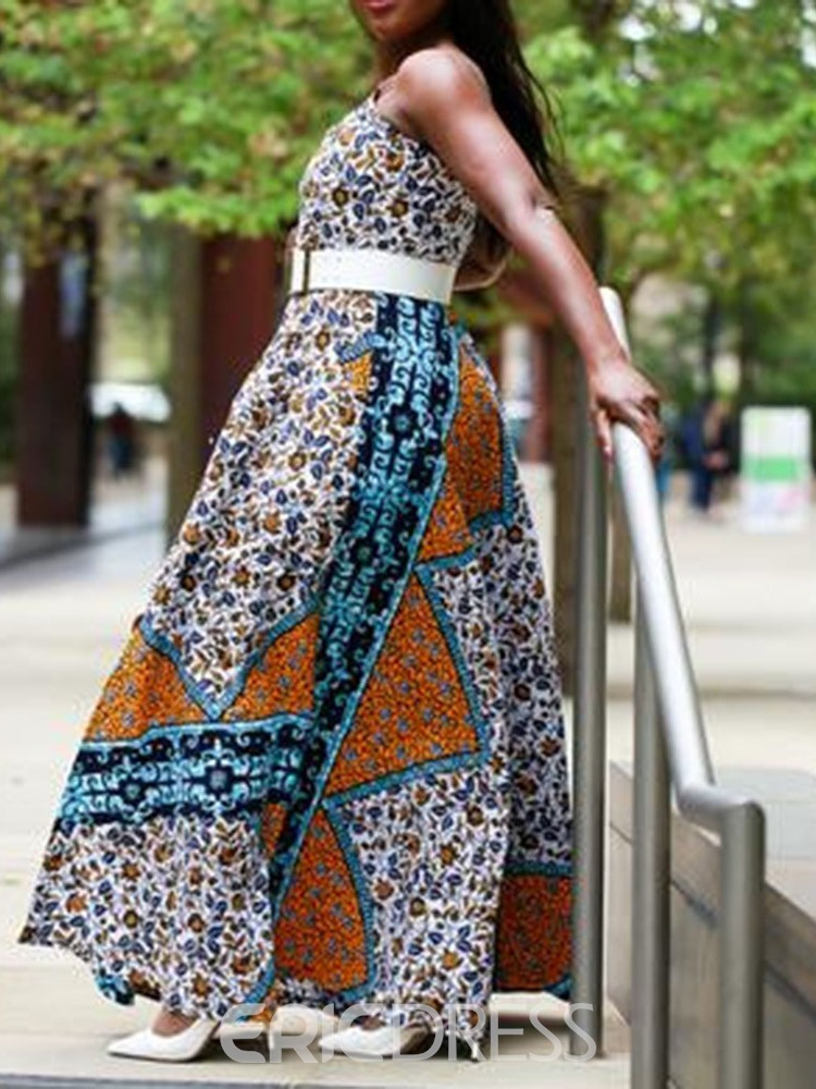 Ericdress African Fashion Pocket Floor-Length Sleeveless Expansion Dress(Without Waistband)