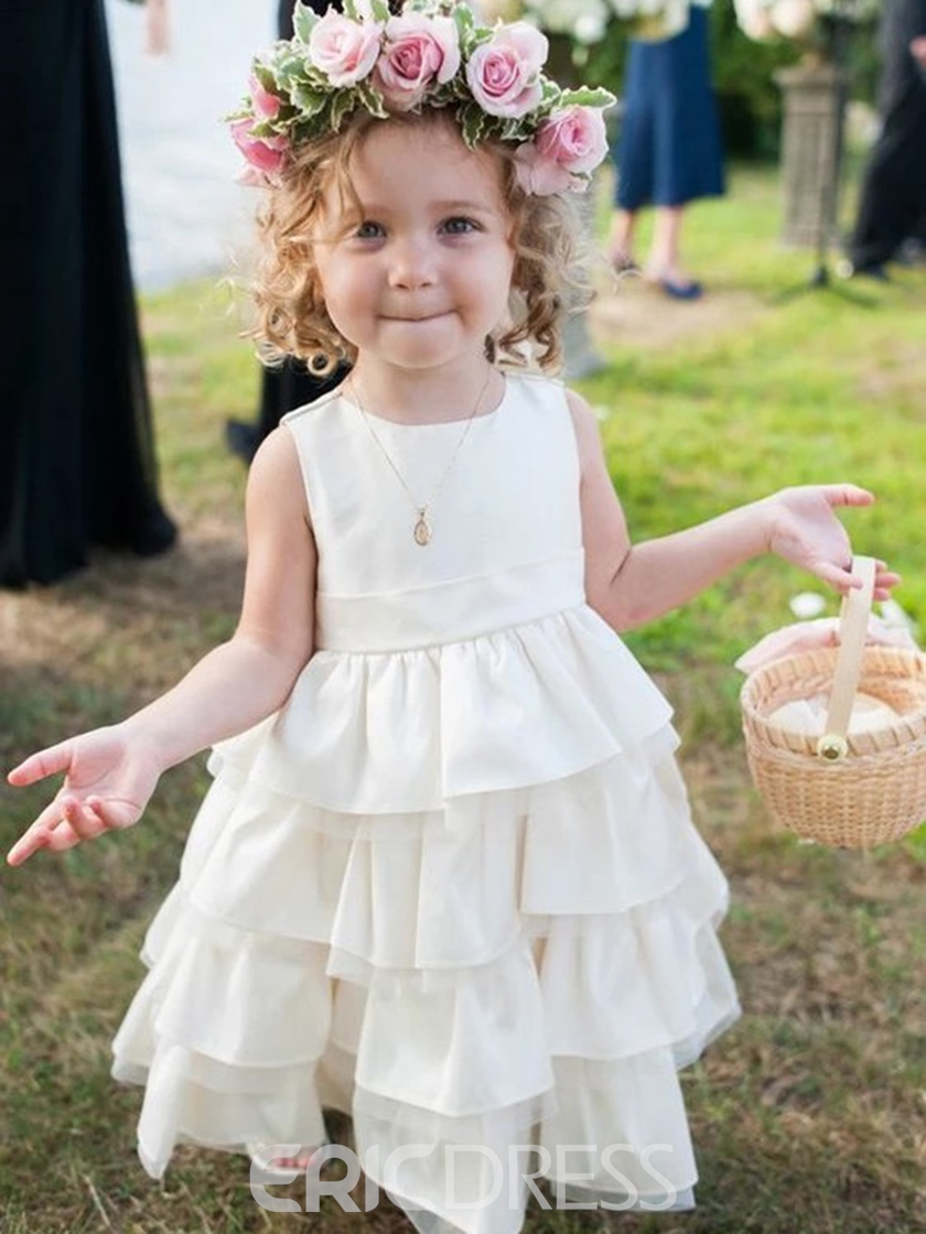 Ericdress Tiered Sleeveless Round Neck Flower Girl Dress